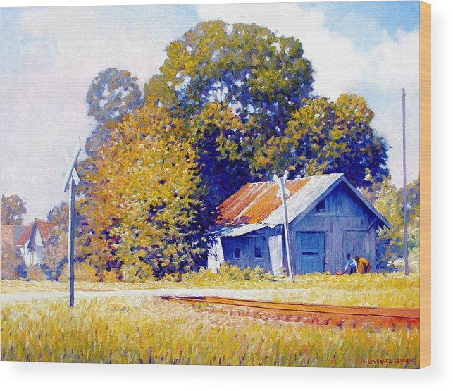 Railroad Track Wood Print featuring the painting Railroad Crossing by Kevin Lawrence Leveque