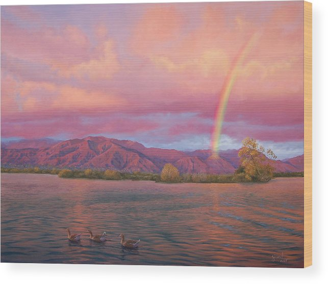 Lake Wood Print featuring the painting Rainbow At Sunset by Johanna Girard