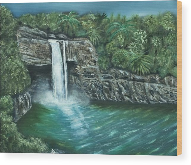 Rainbow Falls Wood Print featuring the painting Rainbow Falls Of Hawaii by Brandon Hebb