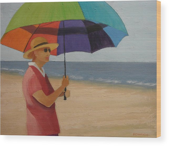 Ocean Wood Print featuring the painting Rainbow Umbrella by Robert Rohrich
