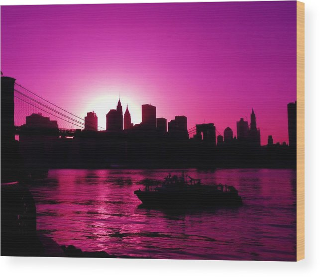 Brooklyn-bridge Wood Print featuring the photograph Raspberry Ice In Silhouette by Kendall Eutemey