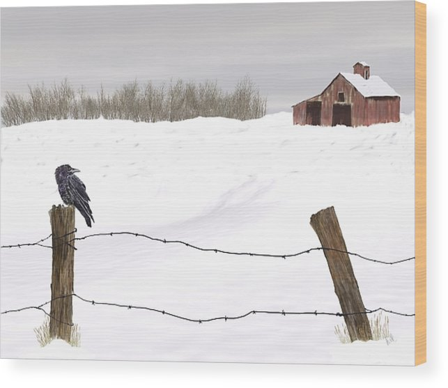 Winter Wood Print featuring the painting Raven In Winter by Barb Kirpluk
