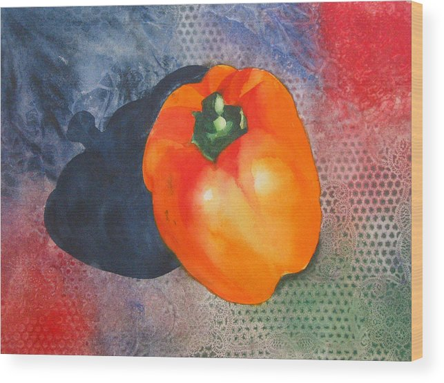 Pepper Wood Print featuring the painting Red Pepper Solo by Jean Blackmer