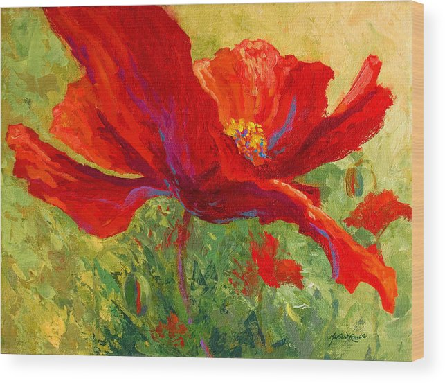 Poppies Wood Print featuring the painting Red Poppy I by Marion Rose