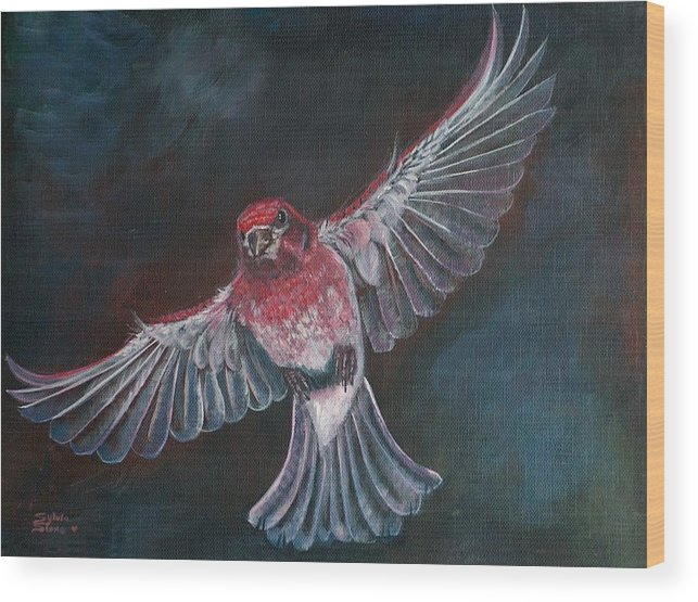 Acrylic Wood Print featuring the painting Redbird by Sylvia Stone