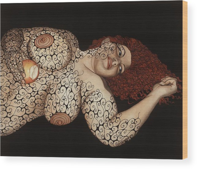 Figurative Wood Print featuring the painting Redemption by Tina Blondell