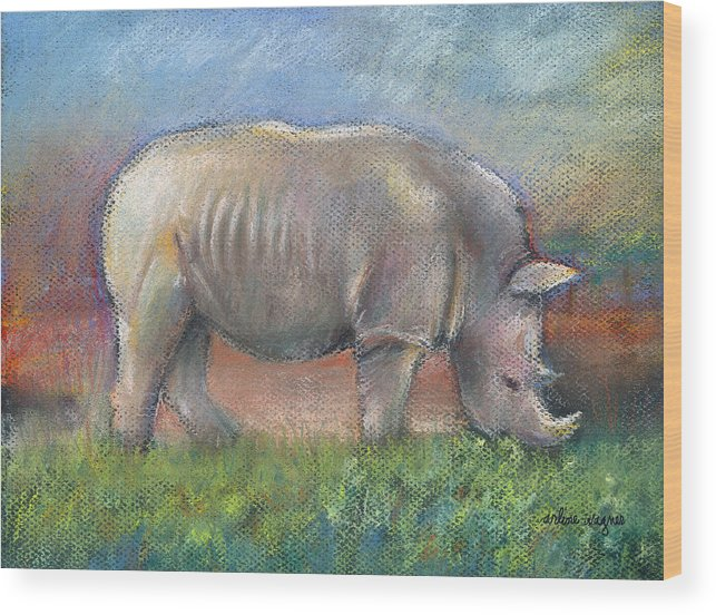 Rhino Wood Print featuring the pastel Rhino by Arline Wagner