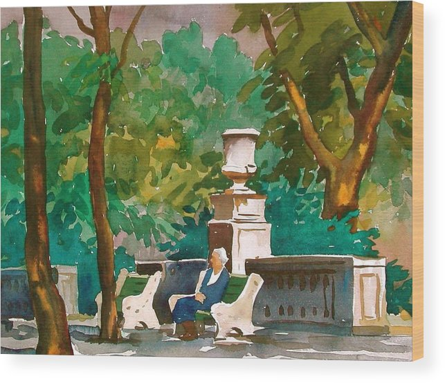 Figure Wood Print featuring the painting Rittenhouse Square by Faye Ziegler