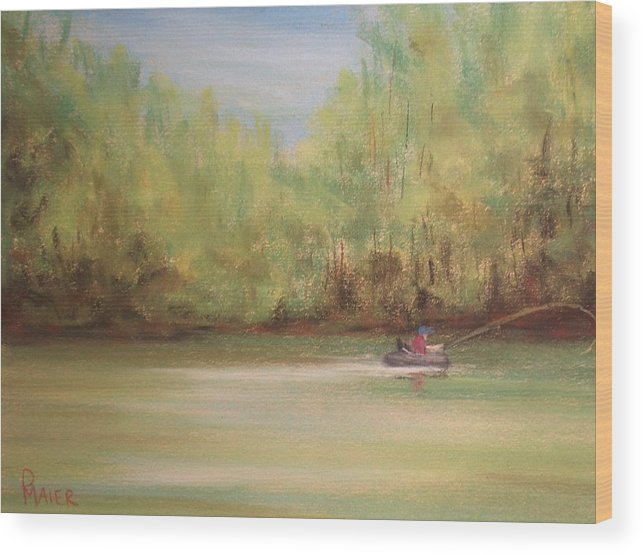 Fishing Wood Print featuring the painting Rivergreen by Pete Maier
