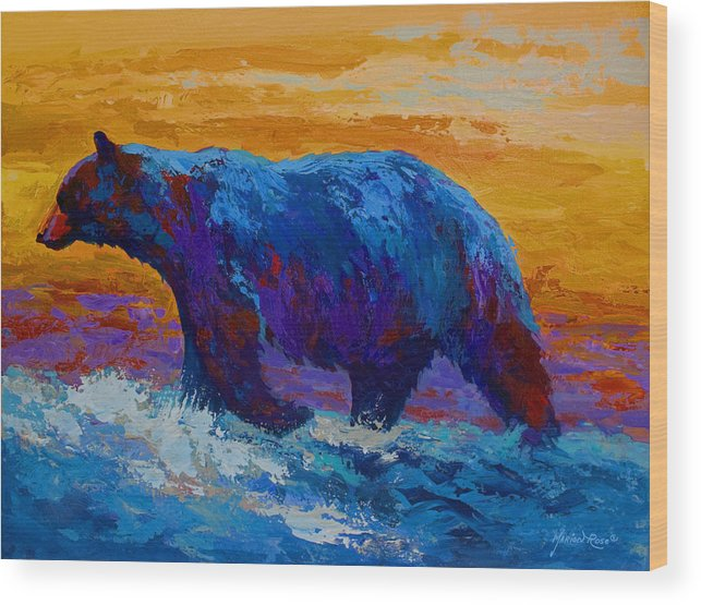 Bear Wood Print featuring the painting Rivers Edge I by Marion Rose
