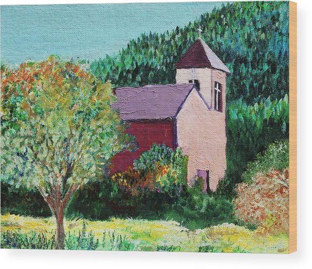 Church Wood Print featuring the painting Ruidoso by Melinda Etzold