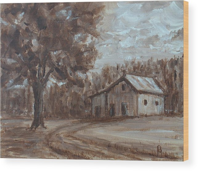 Barn Wood Print featuring the painting Rustic by Pete Maier