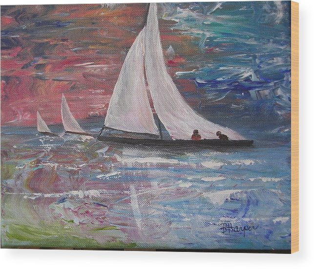 Ocean Wood Print featuring the painting Sailboats At Sunrise by Barbara Harper