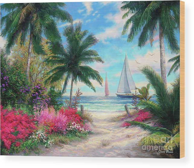Tropical Wood Print featuring the painting Sea Breeze Trail by Chuck Pinson