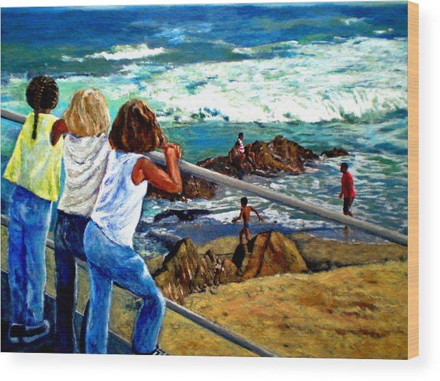 Girls Wood Print featuring the painting Sea Point Summer by Michael Durst