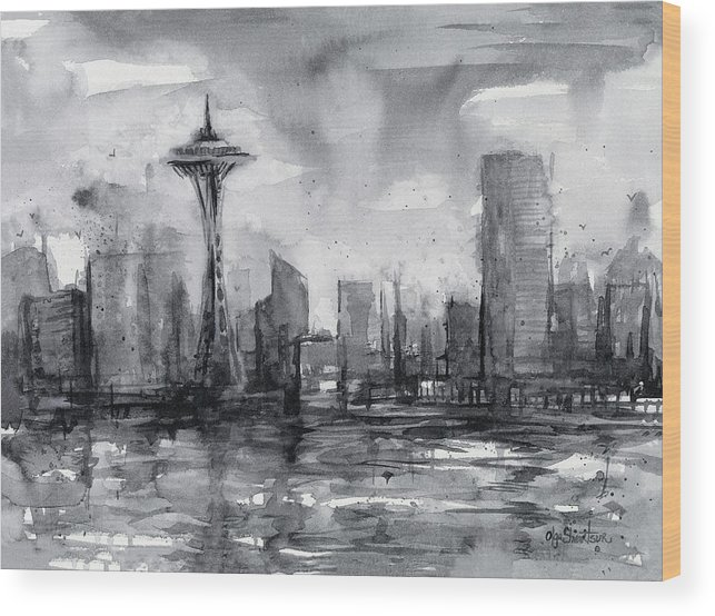 Seattle Wood Print featuring the painting Seattle Skyline Painting Watercolor by Olga Shvartsur