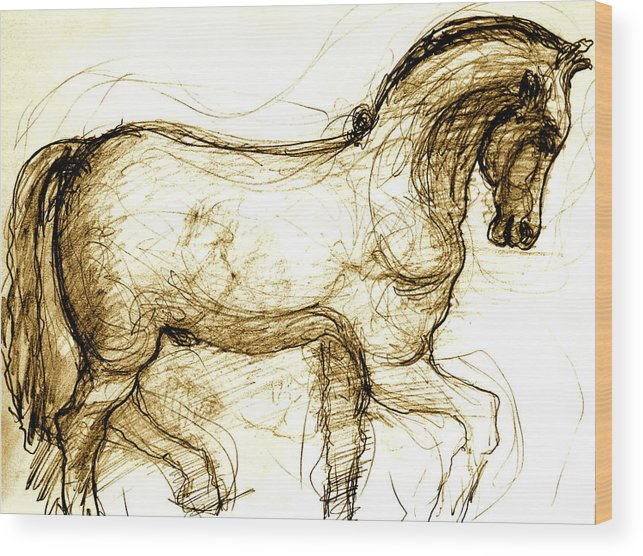 Horse Wood Print featuring the drawing Set The Stallion Free by Dan Earle