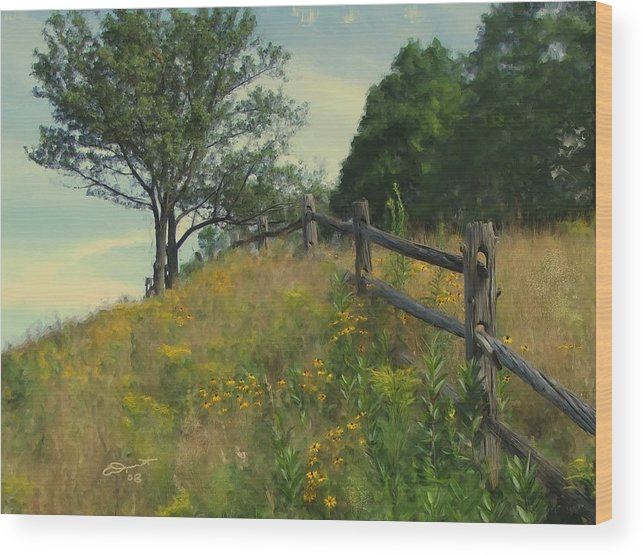 Country Rural Fence Vermont Flower Summer Painting Rail Tree Hill Goldenrod Shade Wild Sargent Oil Wood Print featuring the painting Shade Tree by Eddie Durrett
