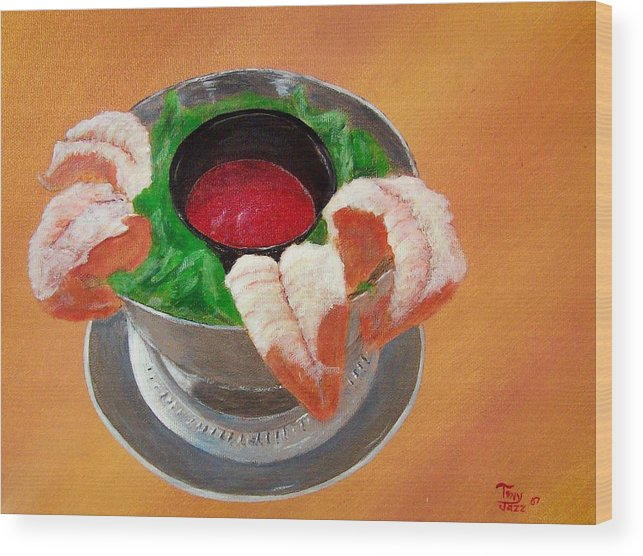 Food Wood Print featuring the painting Shrimp Cocktail by Tony Rodriguez
