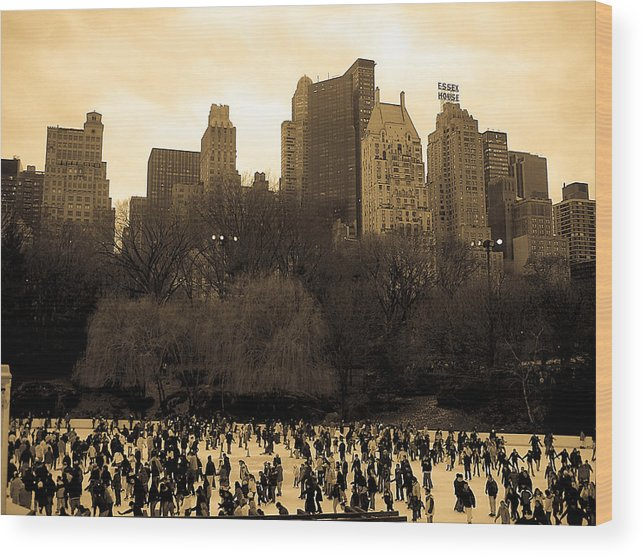 Ice Skating Wood Print featuring the photograph Skating Central At The Park by Joshua Francia