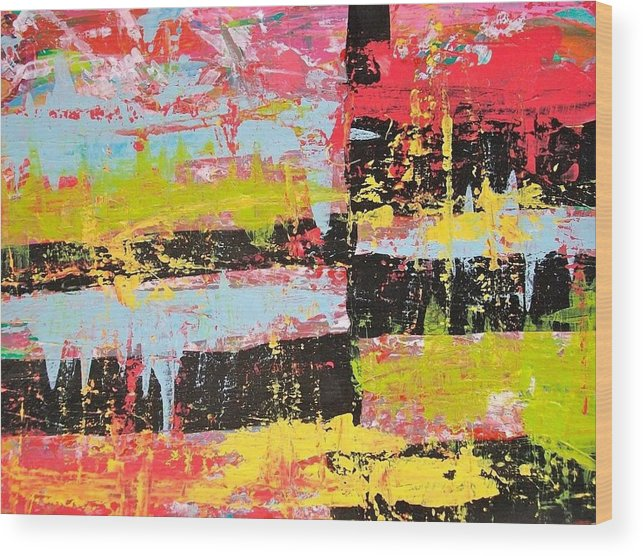 Wood Print featuring the painting Smash Paint by Lindsay Warren