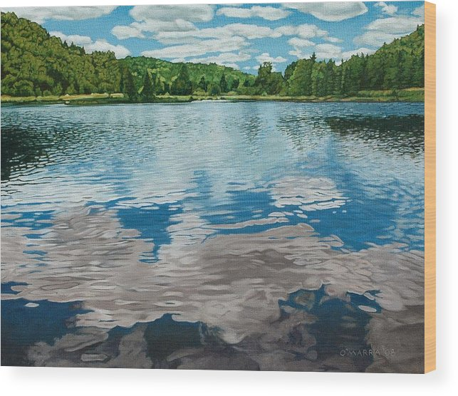 Landscape Wood Print featuring the painting South Boundary Lake Reflections by Allan OMarra