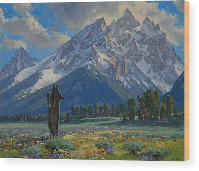 Landscape Wood Print featuring the painting Spring Again by Lanny Grant