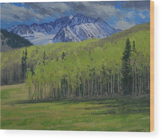 Landscape Wood Print featuring the painting Spring Aspen by Lanny Grant