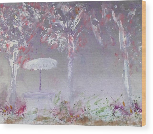 Abstract Wood Print featuring the painting Spring On The Patio by Michela Akers