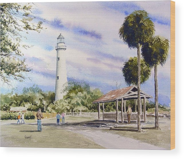 Lighthouse Wood Print featuring the painting St. Simons Island Lighthouse by Sam Sidders