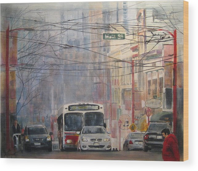 Bus Wood Print featuring the painting Stop Light by Victoria Heryet