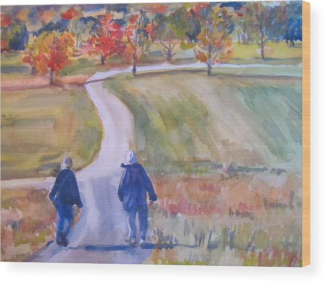 Landscape Wood Print featuring the painting Storm King Stroll by Joyce Kanyuk