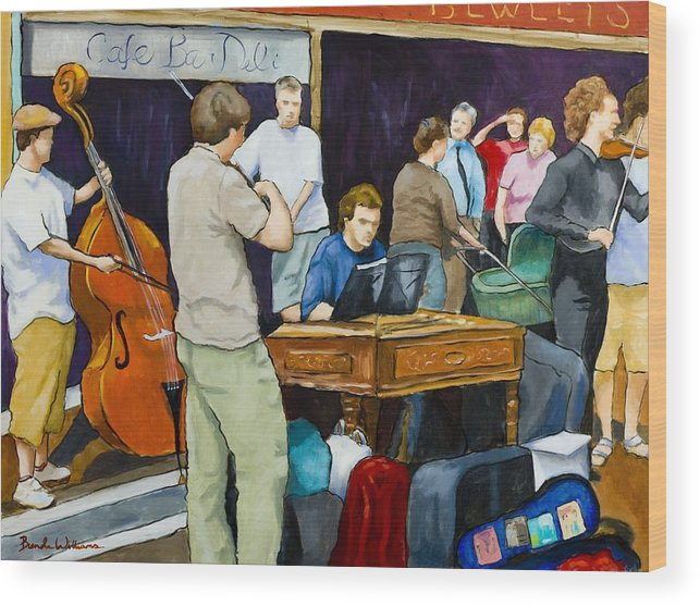Figurative Wood Print featuring the painting Street Musicians In Dublin by Brenda Williams