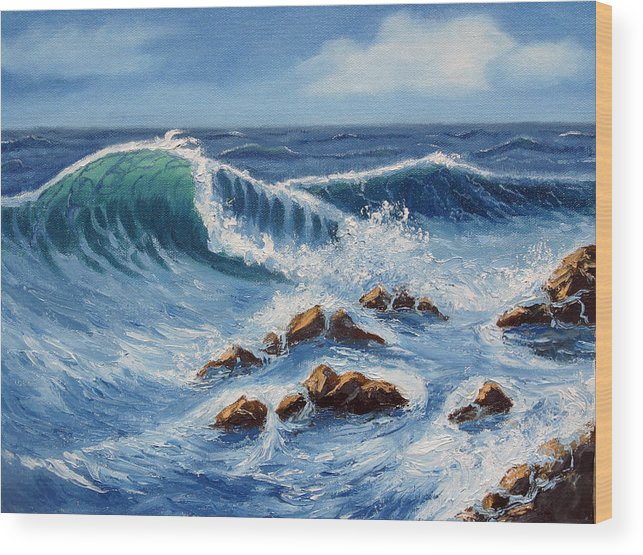 Sea Scapes Wood Print featuring the painting Summer At The Beach by Lorraine Foster