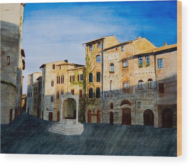 Landscape Wood Print featuring the painting Summer Evening In San Gimignano by Monika Degan