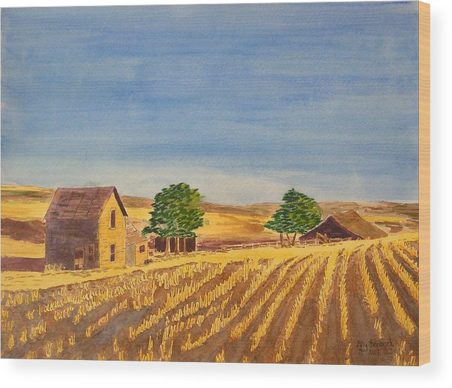 Farm Wood Print featuring the painting Summer Farm by Ally Benbrook