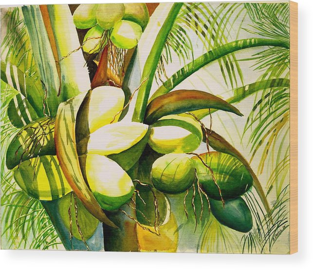 Trees Wood Print featuring the painting Sunlit Coconuts by Elizabeth Ferris