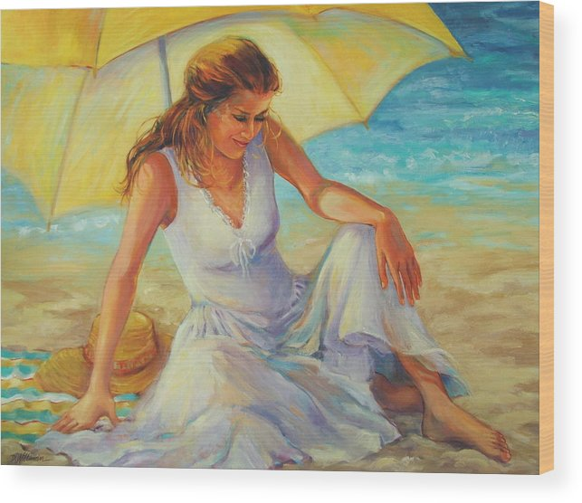 Beach Wood Print featuring the painting Sunlit by Dianna Willman