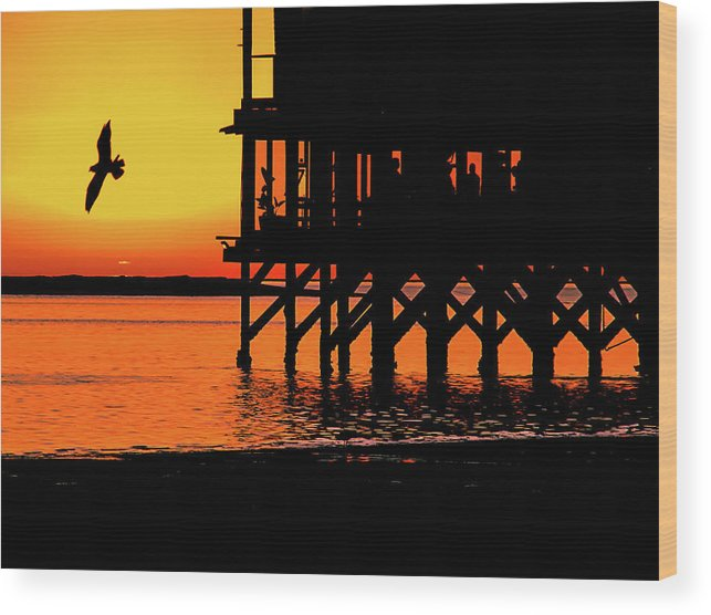 Sunset At Raft With Bird Wood Print featuring the photograph Sunset At Raft With Bird by Mar Nie