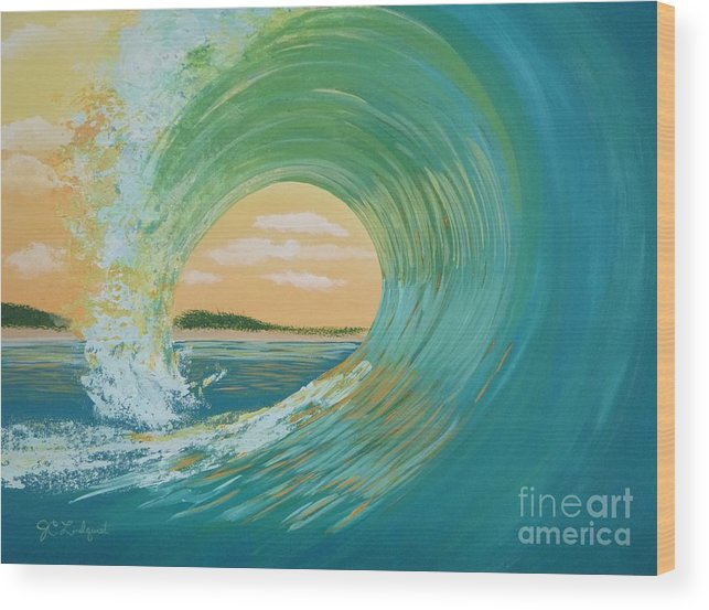 Ocean Wood Print featuring the painting Sunset Curl by Jenn C Lindquist