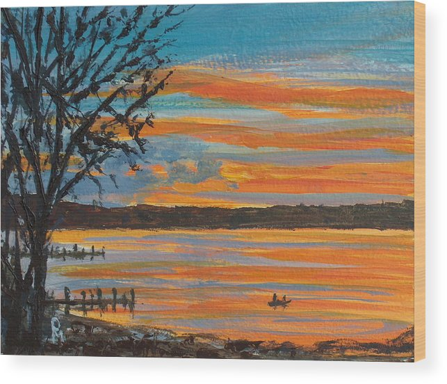 Lakescape Wood Print featuring the painting Sunset Lake by Pete Maier