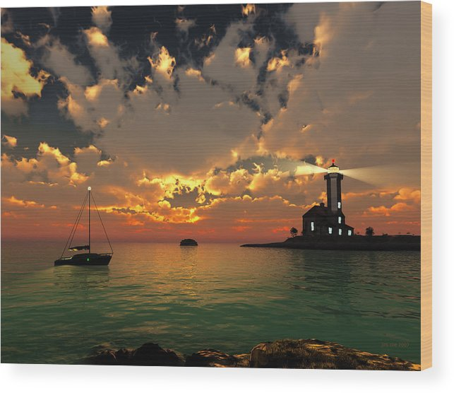 Jim Coe Wood Print featuring the digital art Sunset Lighthouse by Jim Coe