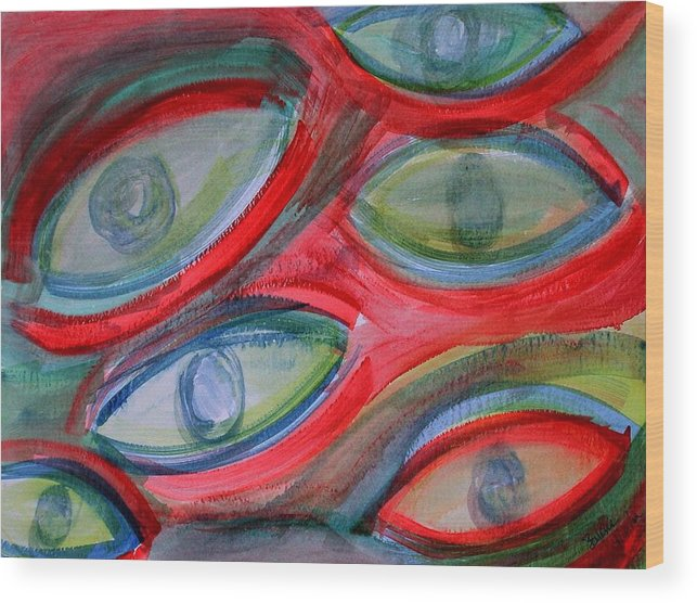 Eyes Wood Print featuring the painting Swimming Eyes by Margie Byrne