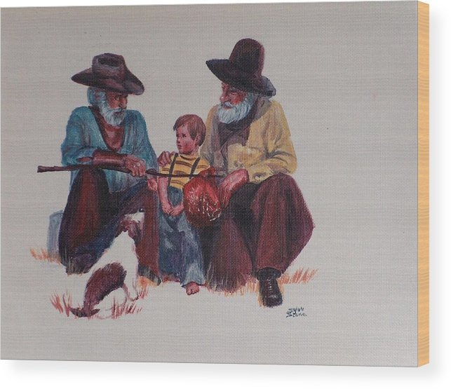 Cowboy Wood Print featuring the painting Tall Tails by Sylvia Stone
