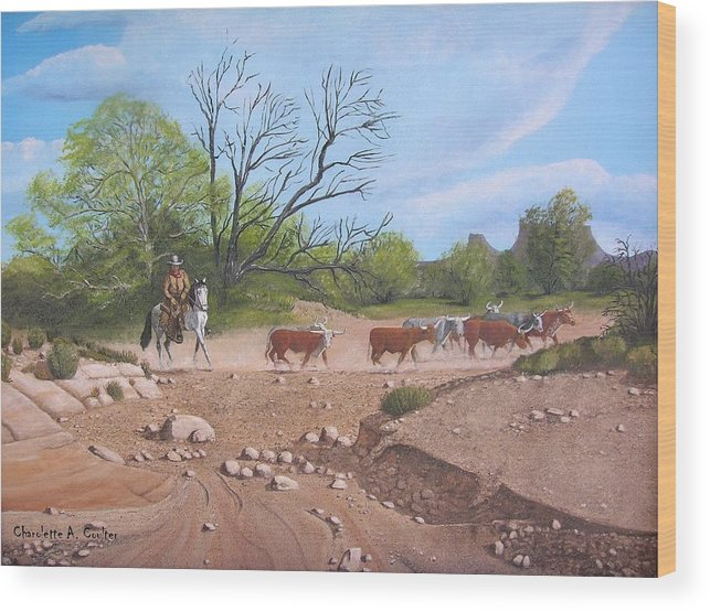 Western Wood Print featuring the painting Texas Cattle Drive by Charolette A Coulter