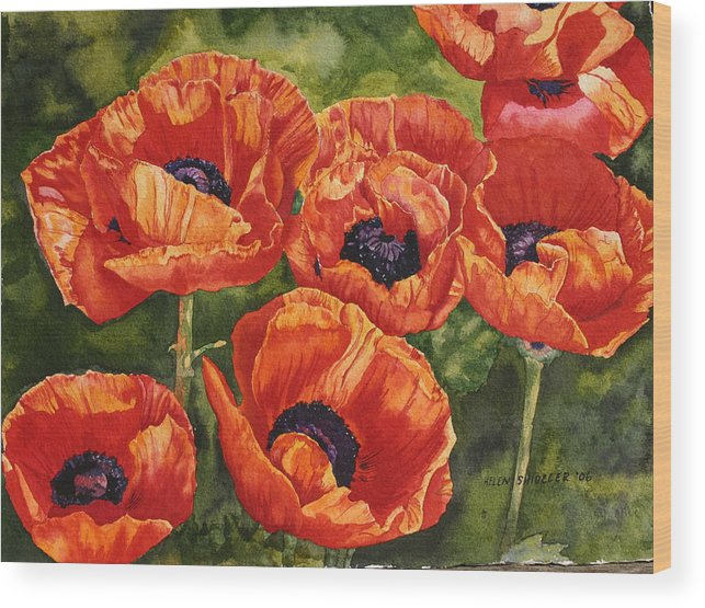 Poppy Wood Print featuring the painting The Dance by Helen Shideler