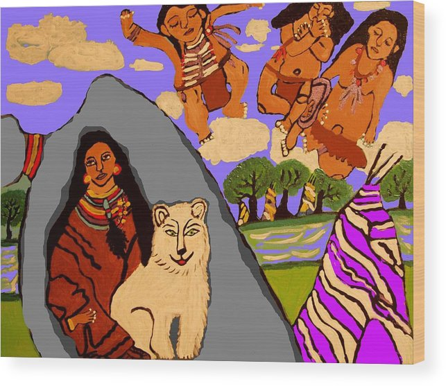 Indian Wood Print featuring the painting The Grieving Mother by Betty J Roberts