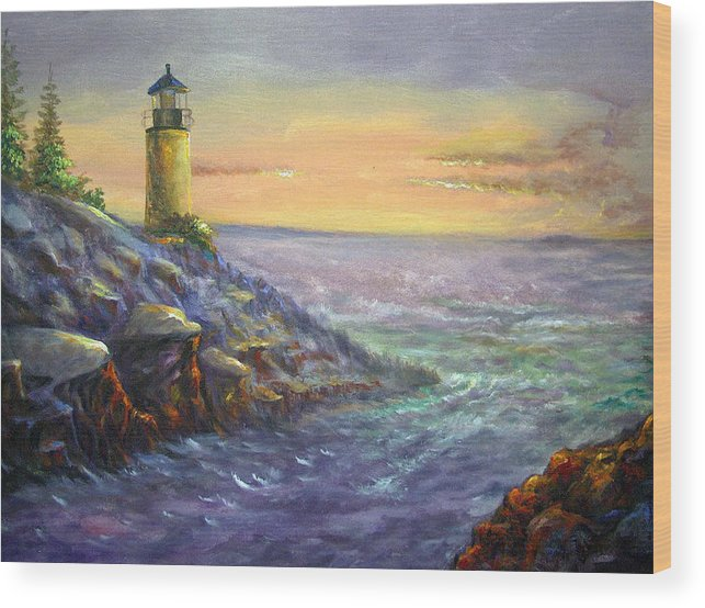 Seacape Wood Print featuring the painting The Light That Leads Homeward by Tommy Winn