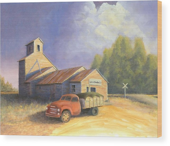 Nebraska Wood Print featuring the painting The Lisco Elevator by Jerry McElroy