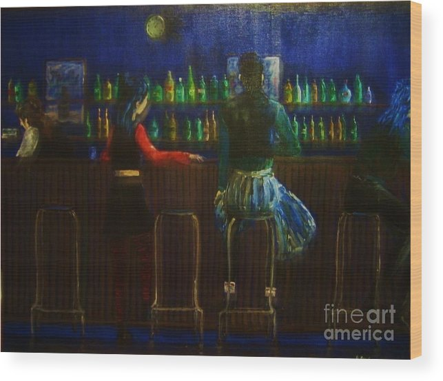 Bar Scene Wood Print featuring the painting The Local Bar by Reb Frost